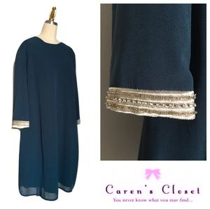 NWT MM  Couture Teal Embellished Chiffon Dress